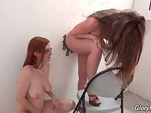Two Slutty Girls Get Assfucked Through Glory Hole 3